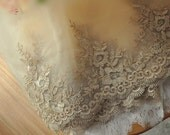 Alencon Lace Trim in Gold for Wedding Gown , Bridals, Veils, Garters, Costumes,Jewelry Design