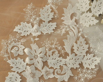 Ivory Bridal Lace Applique with Snowflake Design, Floral Embroidery Lace Applique for Wedding Gown, Bridal Veils