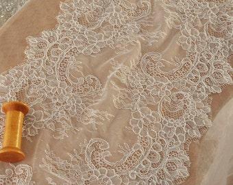 French Eyelash Alencon Lace Victorian Style Wedding Lace Bridal Antique Style Lace Trim