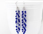 Cobalt blue chainmaille earrings, beaded chainmaille jewelry, long dangle earrings, shaggy loops weave