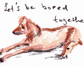 print of oil pastel painting, dog, letters, kids art, babys room art, 8 x 10 inches or a4, with epson ink