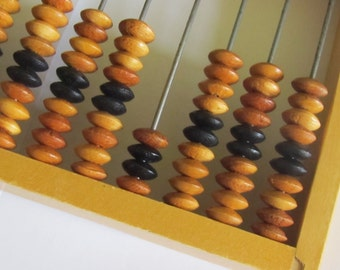 On Sale - Vintage small wooden Abacus, 1960s, school abacus, all wood abacus,  Home decor