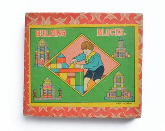 incomplete set of vintage wood childrens building blocks in box Japan from Elizabeth Rosen