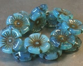 Czech Flower Button Bead 12mm Aqua Blue Opal Picasso 1 Strand