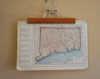 Vintage Old World Map~ Florida & Connecticut / Original 1925 World Atlas Map