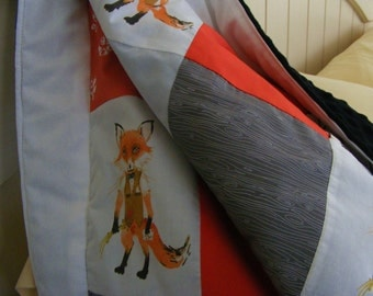 minky fox baby blanket . Baby Blanket . Coral Grey Patchwork-Minky Design - Modern Mr. Fox  Coral Grey Woodland Blanket
