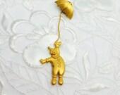 Vintage J J Clown Pin/Lapel, Umbrella Solid Gold Tone, Signed J J, HALF OFF Sale, Item No. B351
