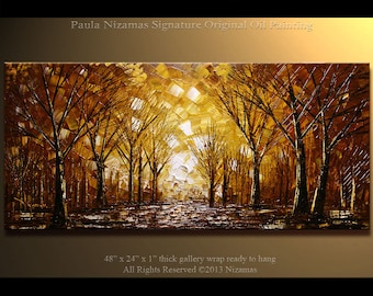 Acrylic and Oil Painting on canvas Park at Night PALETTE KNIFE original heavy texture art ready to hang By Paula Nizamas