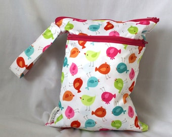 Wet and dry bag. Double zippered bag. 2 compartments. bird print.