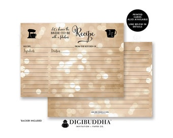 PRINTABLE RECIPE CARDS Bridal Shower Recipe Card Matching Bridal Shower Recipe Cards Blank Wedding Recipe Cards Instant Download DiY- Mila
