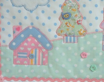 Mini quilt. Nursery hanging, fabric picture. Wall art. Cottages, tree with bird. Handmade. Original design.