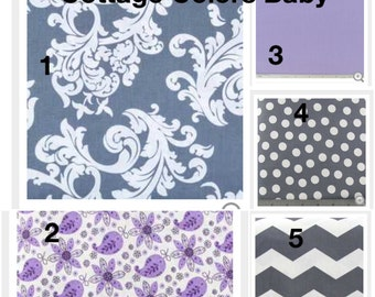 Crib Bedding, CUSTOM, Crib Blanket, Crib Skirt, and Fitted Sheet- purple, gray, and white fabric