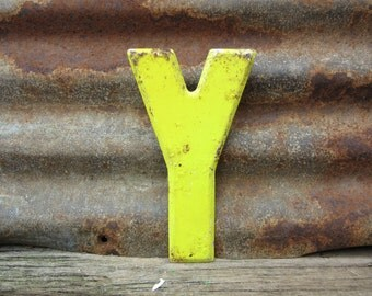 Letter Sign Vintage Metal Letter Y Sign 7 1/2 Inch Distressed Aged Yellow Marquee Sign Wall Art vtg Alphabet Letter Advertising Old