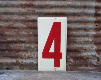Huge Number 4 Sign Number Four Sign Vintage Metal Number Sign 10x19 Inches Price Sign Gas Station Number White Red Distressed Aged Patina