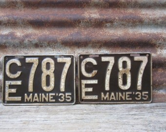 Antique Maine License Plate 1935 SET OF 2  Gray Aged White License Plate Aged Metal Patina VTG Garage Man Cave Industrial Rat Rod Car Truck