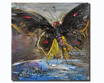 Black butterfly oil Painting Originals on canvas panel Impressionist animal 6x6""