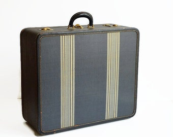 vintage striped tweed suitcase with key 1940s charcoal gray travel luggage