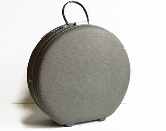 vintage round hat box suitcase with key 1950s luggage American Tourister