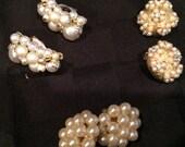 Wedding vintage pearl earrings lot 3 sets