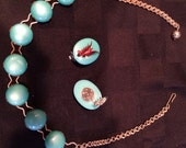 Mad Men necklace earrings turquoise aqua 60s