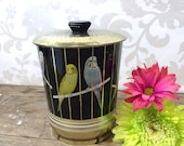 Parakeet bird cage Biscuit Tin Canister, black, yellow, blue, tea can, sewing box, cookie jar, gift tin, Made in England