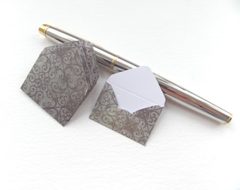 Teeny Weeny Notelets - 6 mini envelopes and folded notes - Brown, green floral, grey patterned, lime green or yellow dotted