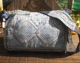 Hmong Vintage Indigo Batik Bag, Handmade Up cycled Messenger Bag, Batik Nag, Batik Shoulder Bag