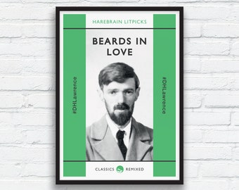 Beard Art Print, DH Lawrence print, Green and Charcoal Black Decor, Beard Play, Penguin Classics parody, Funny Beard Print, Printable Art