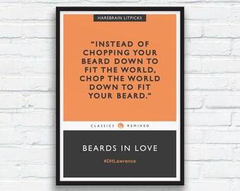 Beard Art Print, DH Lawrence print, Charcoal Black Decor, Orange, Literary parody, Penguin Classics parody, Funny Beard Quote, Printable Art