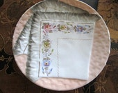 Vintage, Antique HANDKERCHIEF Plate, Peach with Handpainted  Flowers.  Hanky Collectors find!