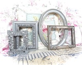 NEW COLOR Shabby Vintage Distressed Ornate Antique Metallic Silver Carved Gesso Picture Photo Frame Set of 4 Cottage Industrial Cottage Chic