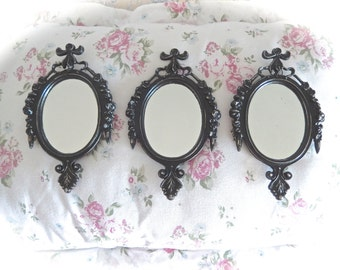 Shabby Metal Oval Small Wall Mirrors Black Velvet Baroque French Country Paris Cottage Chic Set Of 3 READY TO SHIP