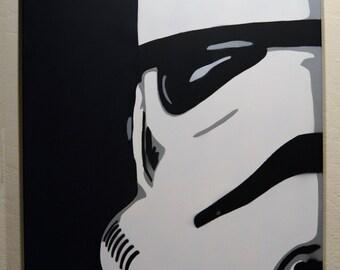 Large Stencil Art on Canvas - Star Wars - Storm Trooper Mask