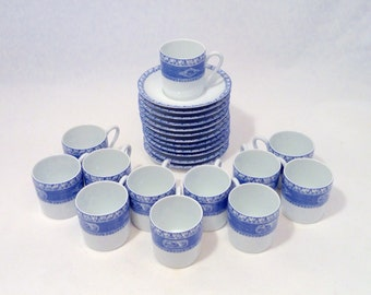 Blue and White Espresso Cups and Saucers, Set of 6, France