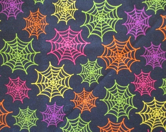 Halloween Cotton Fabric Black Background Colorful SPIDER  Webs 1/2 Yard Heidi Grace Print