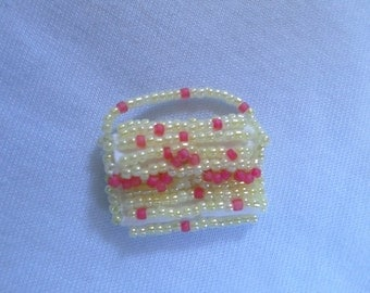 Handmade Purse Charms Glass Beaded Butter Yellow and Mauve