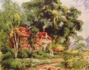 Cotton Michael Miller Fabric Sample with One Repeat with House in the Country Bucolic Scene Repeated Two for One