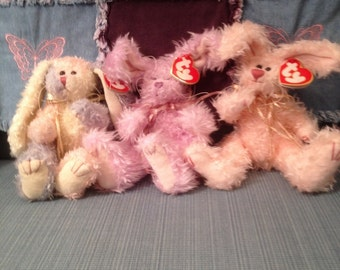 Trio of Ty 1993 Easter Bunnies Pastel May Pink Blush Lavender April