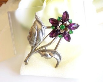 Vintage Rhinestone Flower Pin Purple and Green Rhinestones Stemmed Flower Brooch