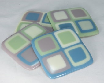 Fused Glass Coasters, Dusty Blue, Lilac, Celadon, Cream Colors with a Matte Finish (Quantity 4)