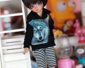 YO-SD black wolf hoodie