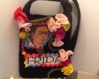 Frida Kahlo felt bag.