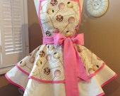 "Cake Pop Print Woman""s Retro Apron With Tiered Skirt And Bib...Last One Available"