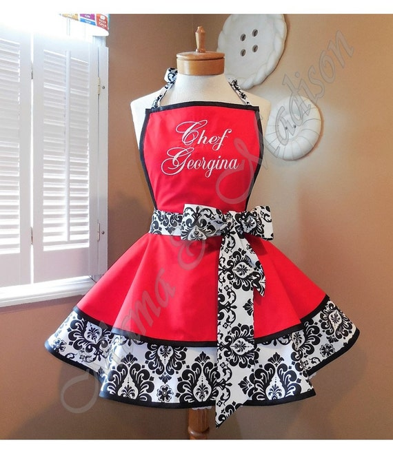 MamaMadison Personalized Womans Retro Apron With Damask Print Accents, Your Choice Of Color and Custom Embroidery