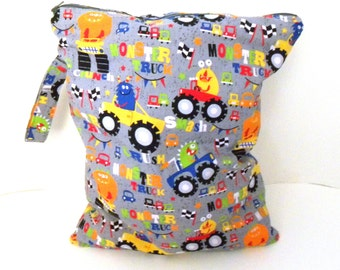 Monster Truck Wet Bag, Large Wet Bag with Handle, Bathing Suit Wet Bag, Cloth Diaper Wet Bag, Last One