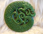 "Jade hand carved antique, pendant paperweight single headed dragon and fire  ""dragons unleashed"" 2- 3/4""  air, water, earth, fire"
