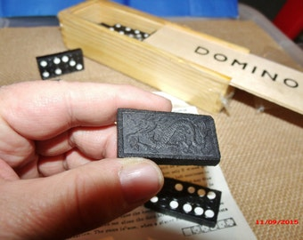 Wooden Domino Game, 28 piece vintage wood Dominos, wood-boxed domino game.....