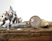 Compass Tie Clip - Antique Nautical Print Tie Bar in Silver - Pirate Jewelry