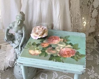 Shabby Stool, Table,Chippy distressed Accent Table,French Farmhouse,shabby pink roses,svfteam