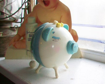 Vintage 1950s Piggy Bank Baby's First Bank Blue Plastic